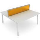 Linnea desk in white with orange acrylic screen