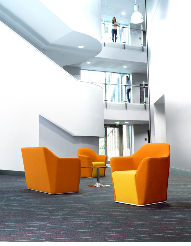 Chamfer reception chairs in yellow and orange