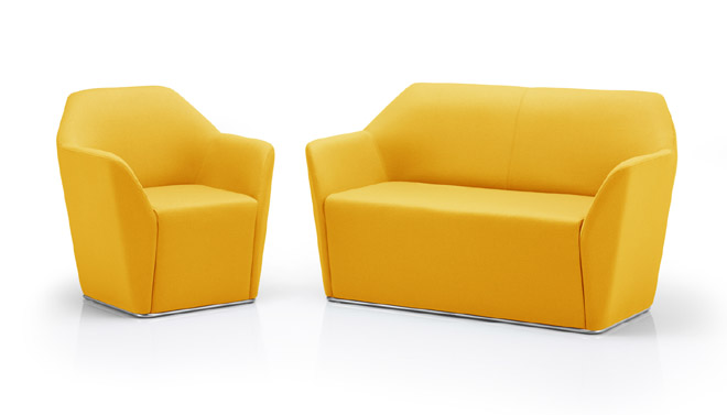 Chamfer reception sofa and chair yellow