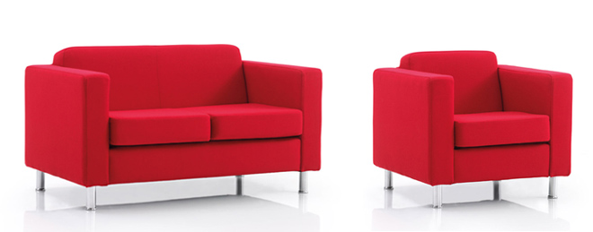 Dorchester reception sofa and chair in red