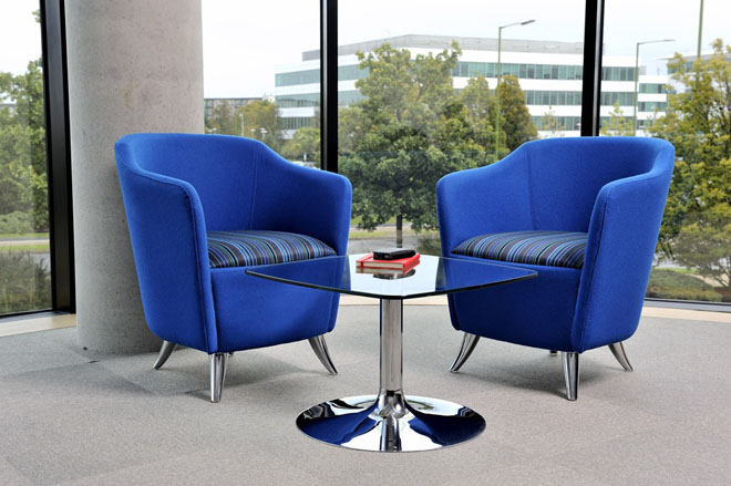 Solace reception chairs in blue 2 tone fabric