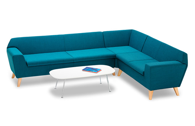 Stretch reception sofa blue
