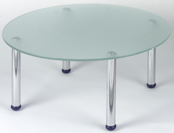 Round Coffee Table With Frosted Glass and Chrome Legs £260
