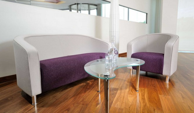 Grosvenor purple white sofas