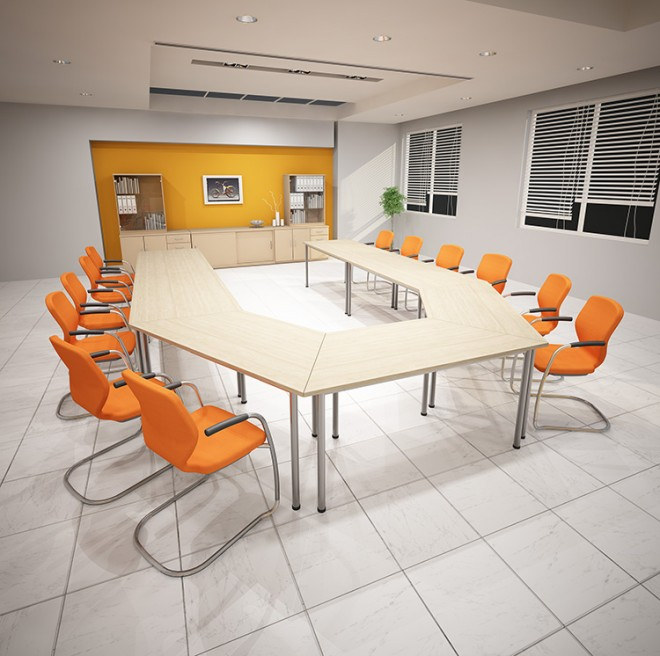 Meeting room tables can be made to any shape and size