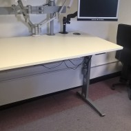 Electric Height Adjustable Desk 1400mm White On Silver Frame