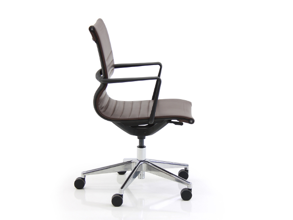Brown eco leather home office ribbed chair